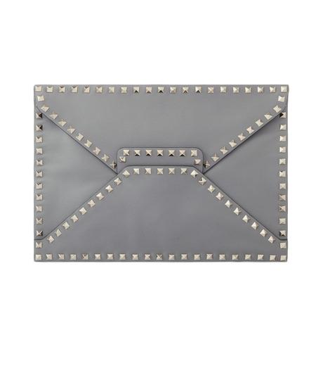 VALENTINO GARAVANI(ヴァレンティノ ガラヴァーニ)のRockstuds Envelop Clutch-GRAY(クラッチバッグ/clutch bag)-LW2B0100BOL-11 詳細画像1