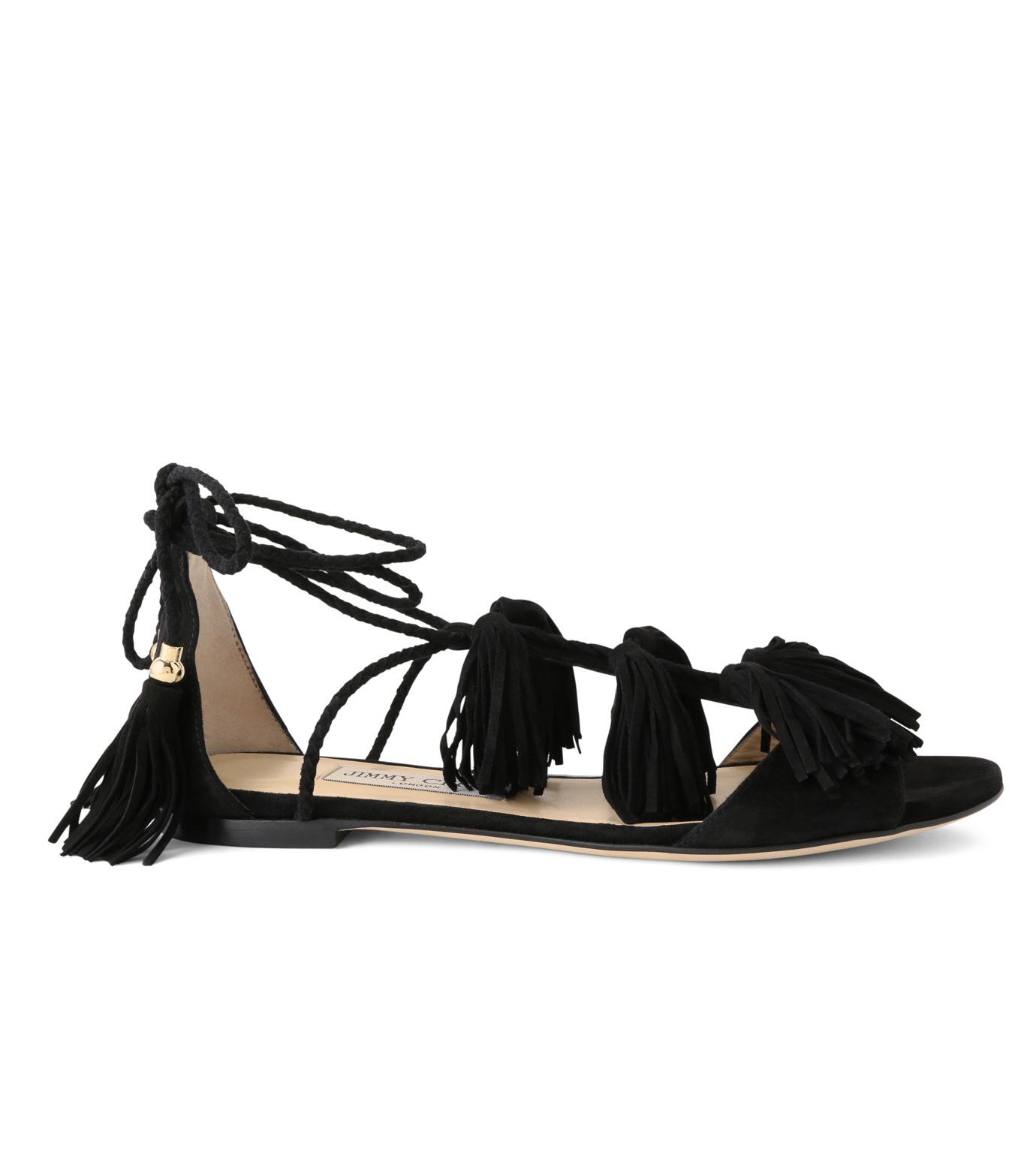 Jimmy Choo(ジミーチュウ)の153WER Suede w/Tassel Flat-BLACK(フラットシューズ/Flat shoes)-MINDY-FLAT-13 拡大詳細画像1