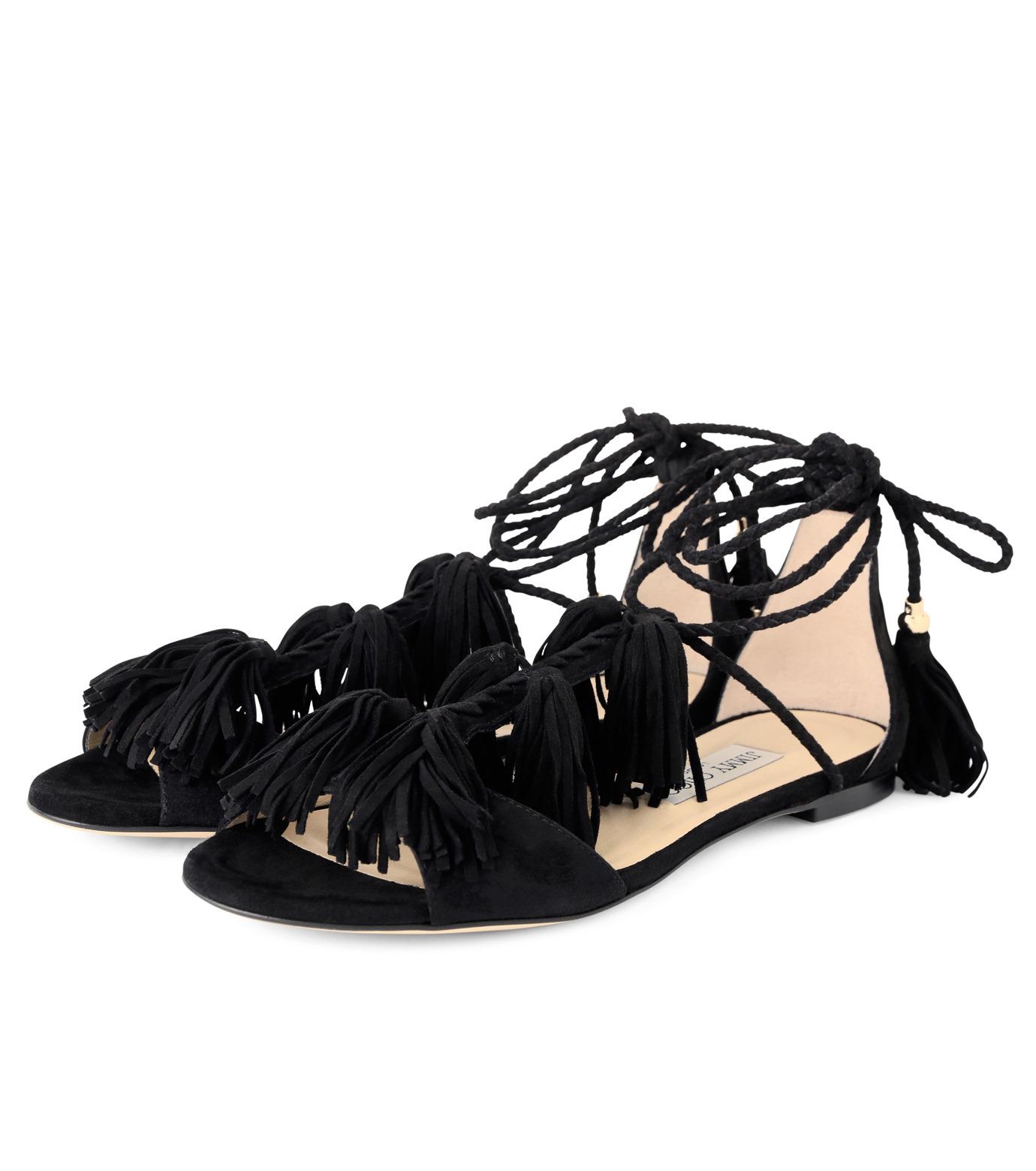 Jimmy Choo(ジミーチュウ)の153WER Suede w/Tassel Flat-BLACK(フラットシューズ/Flat shoes)-MINDY-FLAT-13 拡大詳細画像3