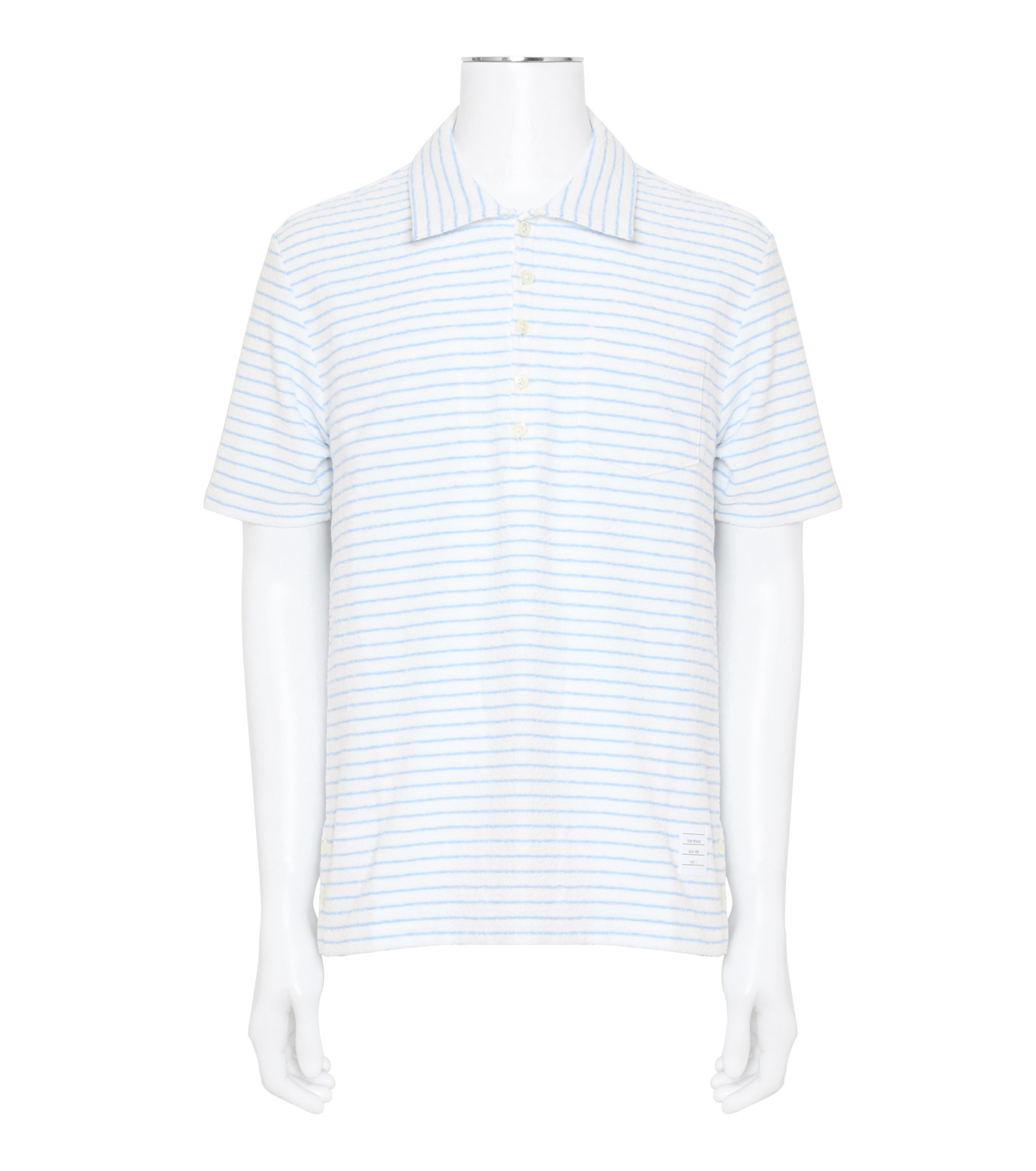 Thom Browne(トムブラウン)のChalk Stripe Polo-WHITE(カットソー/cut and sewn)-MJP032A01429-4 拡大詳細画像1
