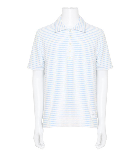 Thom Browne(トムブラウン)のChalk Stripe Polo-WHITE(カットソー/cut and sewn)-MJP032A01429-4 詳細画像1