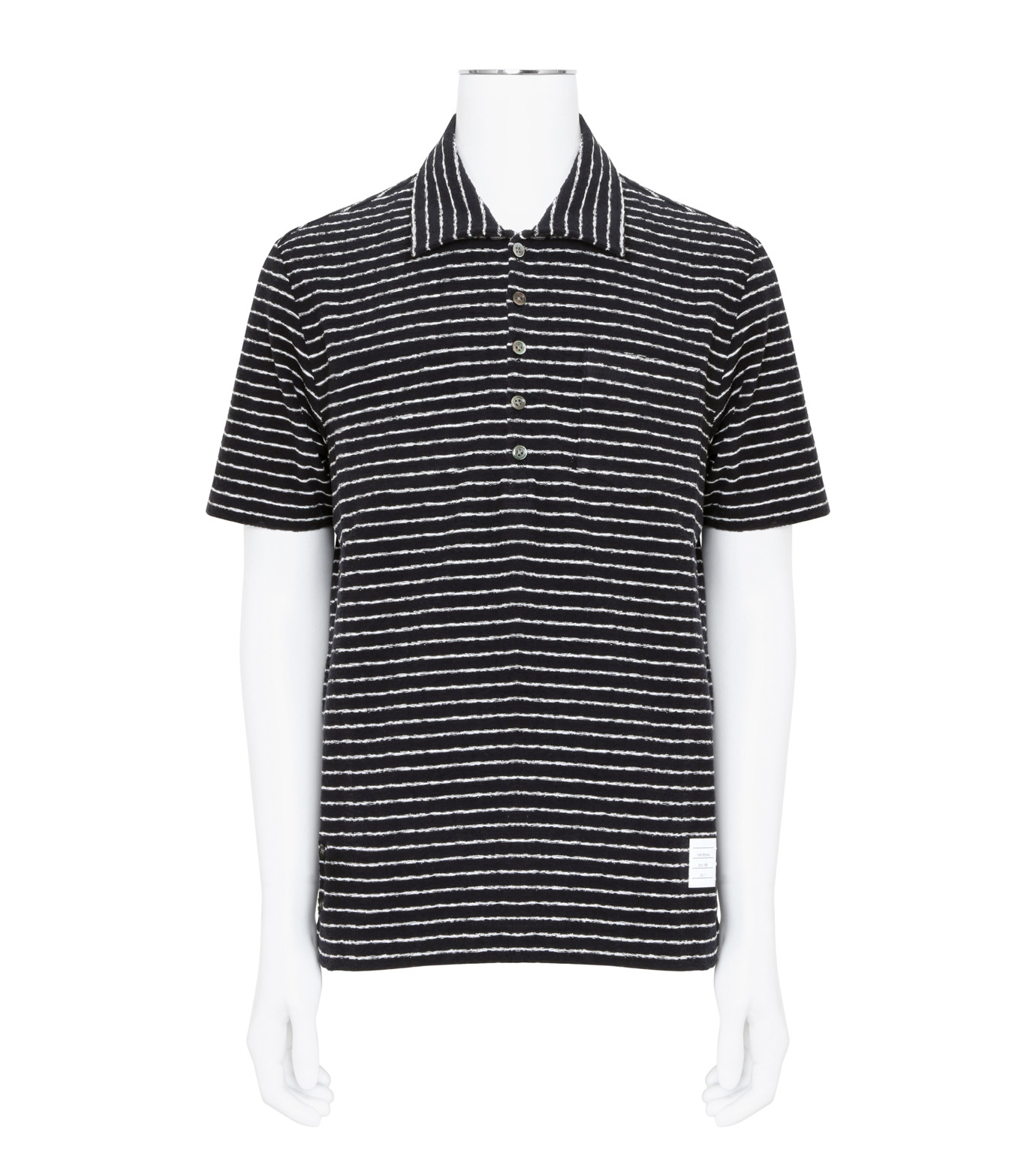 Thom Browne(トムブラウン)のChalk Stripe Polo-NAVY(カットソー/cut and sewn)-MJP032A01429-93 拡大詳細画像1