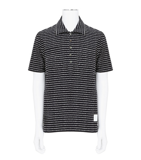 Thom Browne(トムブラウン)のChalk Stripe Polo-NAVY(カットソー/cut and sewn)-MJP032A01429-93 詳細画像1