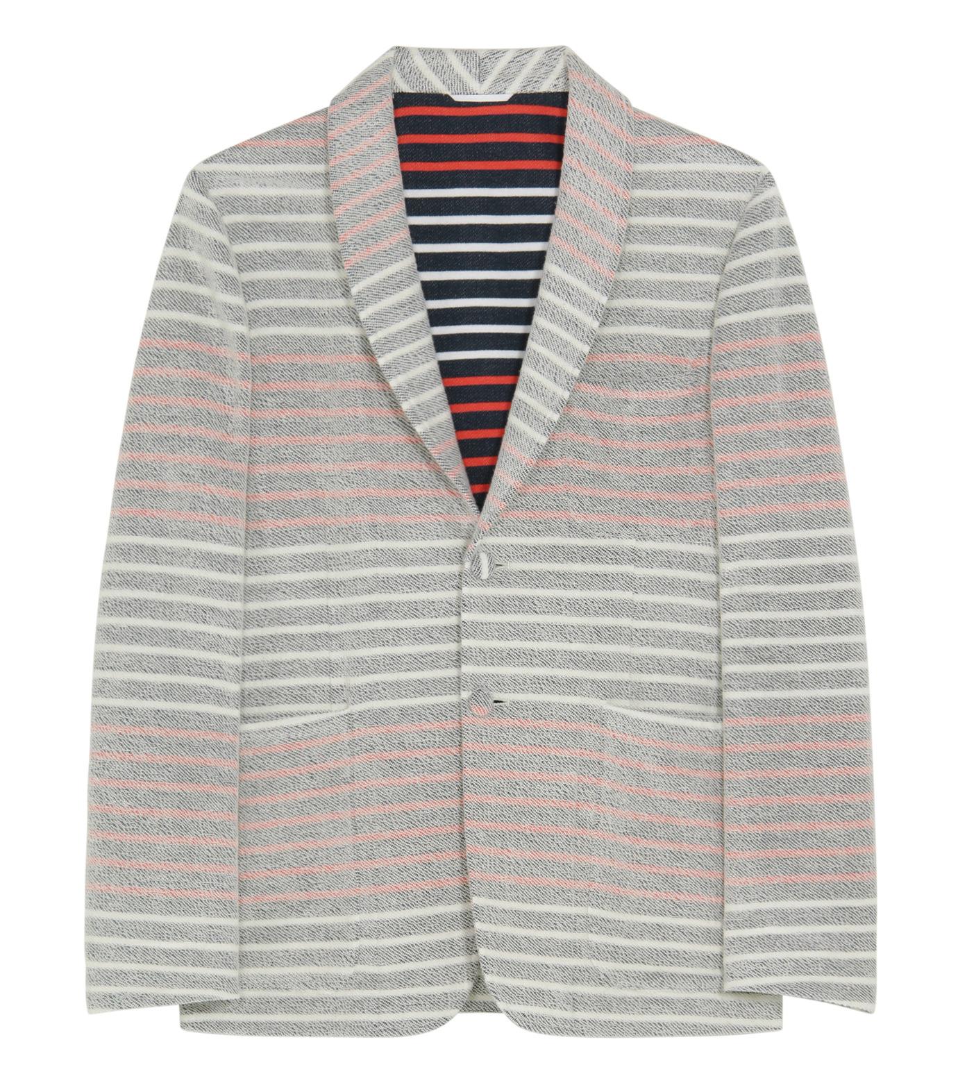 Thom Browne(トムブラウン)のBorder pile jacket-WHITE-MJU065AK6941-4 拡大詳細画像1