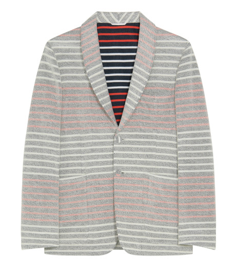 Thom Browne(トムブラウン)のBorder pile jacket-WHITE-MJU065AK6941-4 詳細画像1