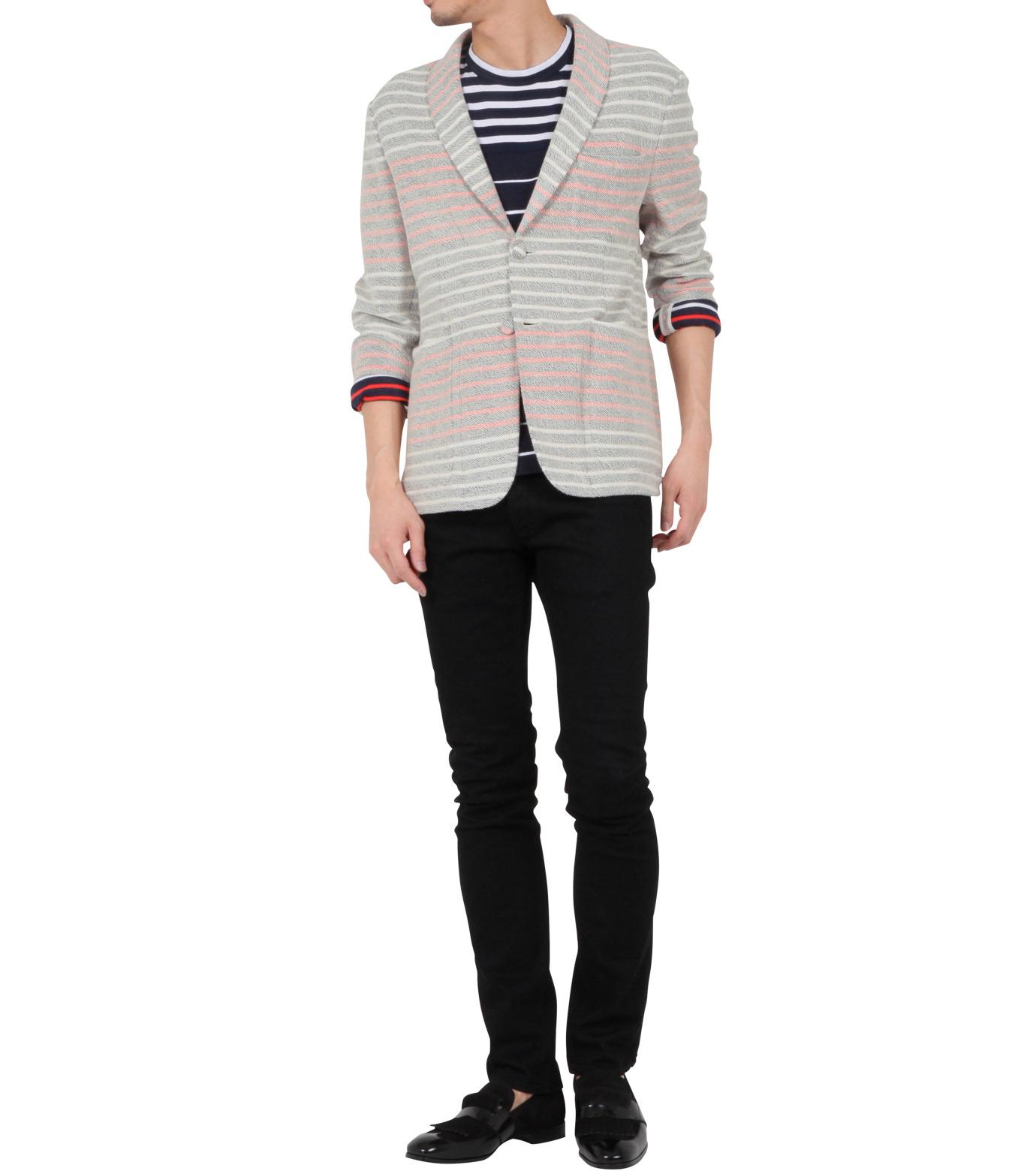 Thom Browne(トムブラウン)のBorder pile jacket-WHITE-MJU065AK6941-4 拡大詳細画像2