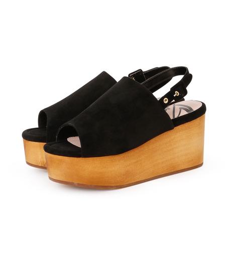 Myneself(マインセルフ)のFake Suede Sandal-BLACK(フラットシューズ/Flat shoes)-MSS7-0010-13 詳細画像2