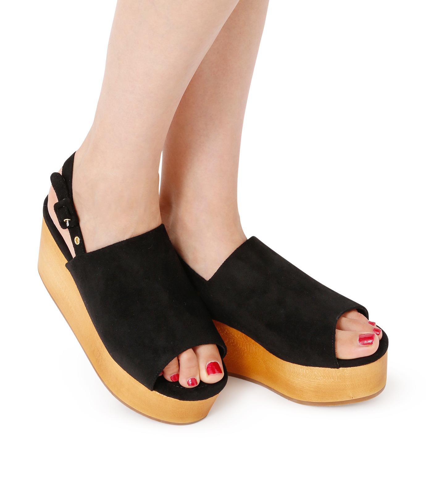 Myneself(マインセルフ)のFake Suede Sandal-BLACK(フラットシューズ/Flat shoes)-MSS7-0010-13 拡大詳細画像5