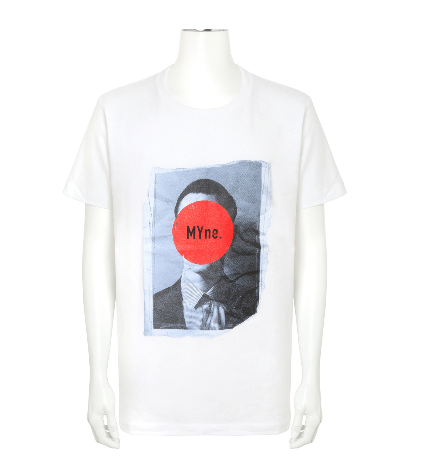 MYne(マイン)のFace Printed T-WHITE(カットソー/cut and sewn)-MYC8C417-4 拡大詳細画像1