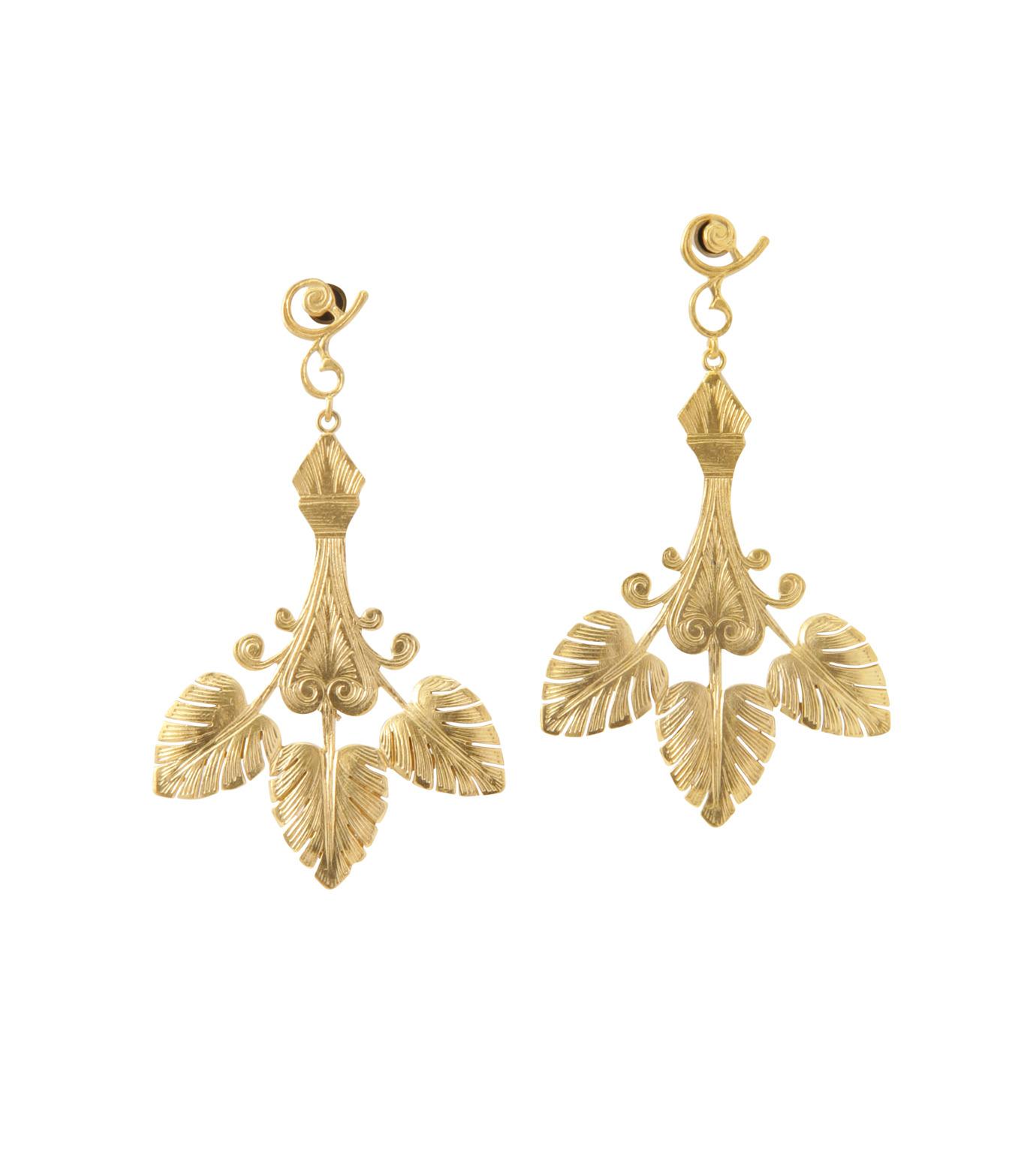 I AM by Ileana Makri(アイ アム バイ イリーナ マクリ)のTriple Golden Leaf Earrings-GOLD-O523-42-099-2 拡大詳細画像1