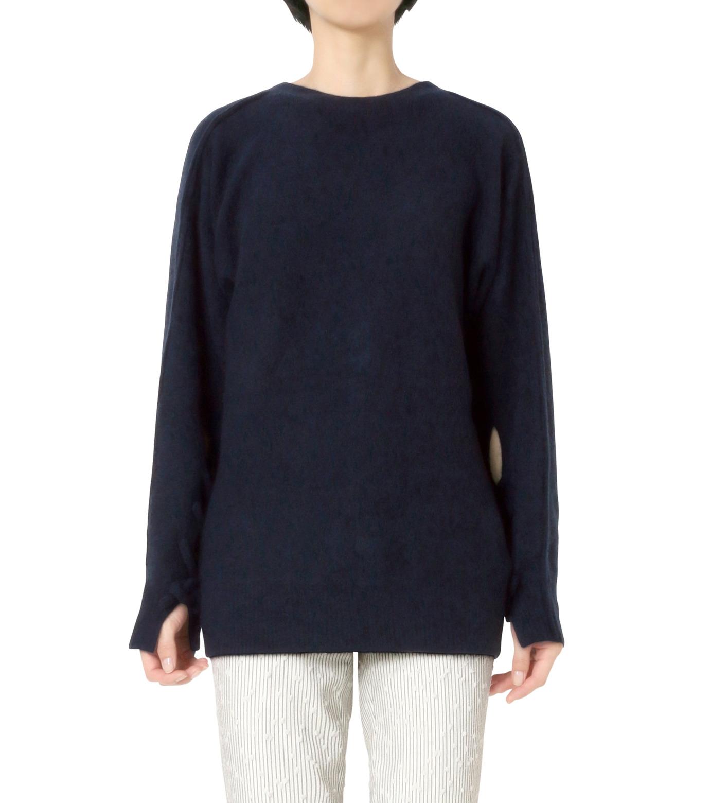 3.1 Phillip Lim(スリーワン フィリップリム)のLS Sweater w/Back V&Knots-NAVY(ニット/knit)-P161-7631PCY-93 拡大詳細画像1