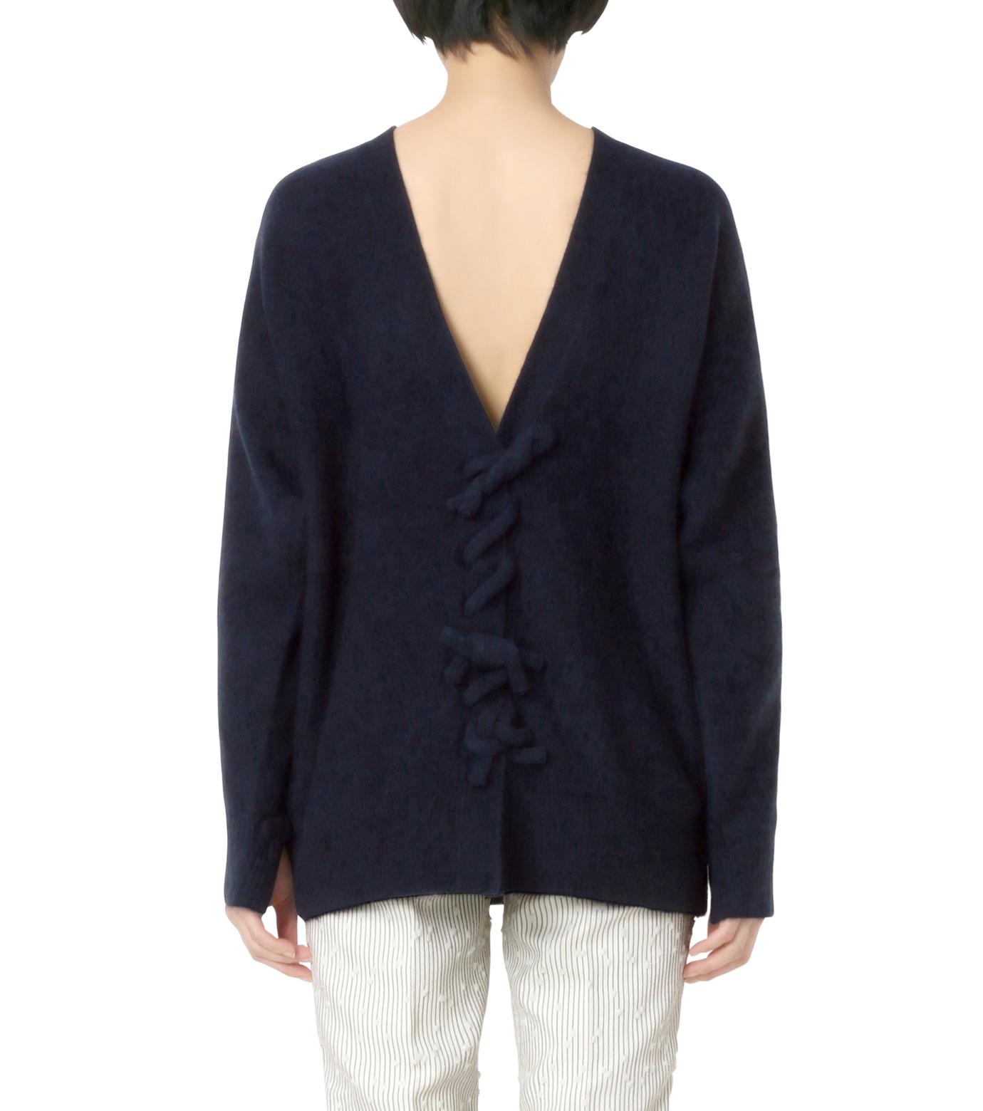 3.1 Phillip Lim(スリーワン フィリップリム)のLS Sweater w/Back V&Knots-NAVY(ニット/knit)-P161-7631PCY-93 拡大詳細画像2