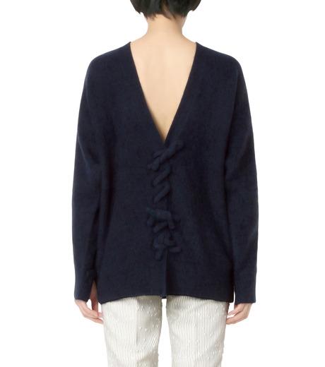 3.1 Phillip Lim(スリーワン フィリップリム)のLS Sweater w/Back V&Knots-NAVY(ニット/knit)-P161-7631PCY-93 詳細画像2