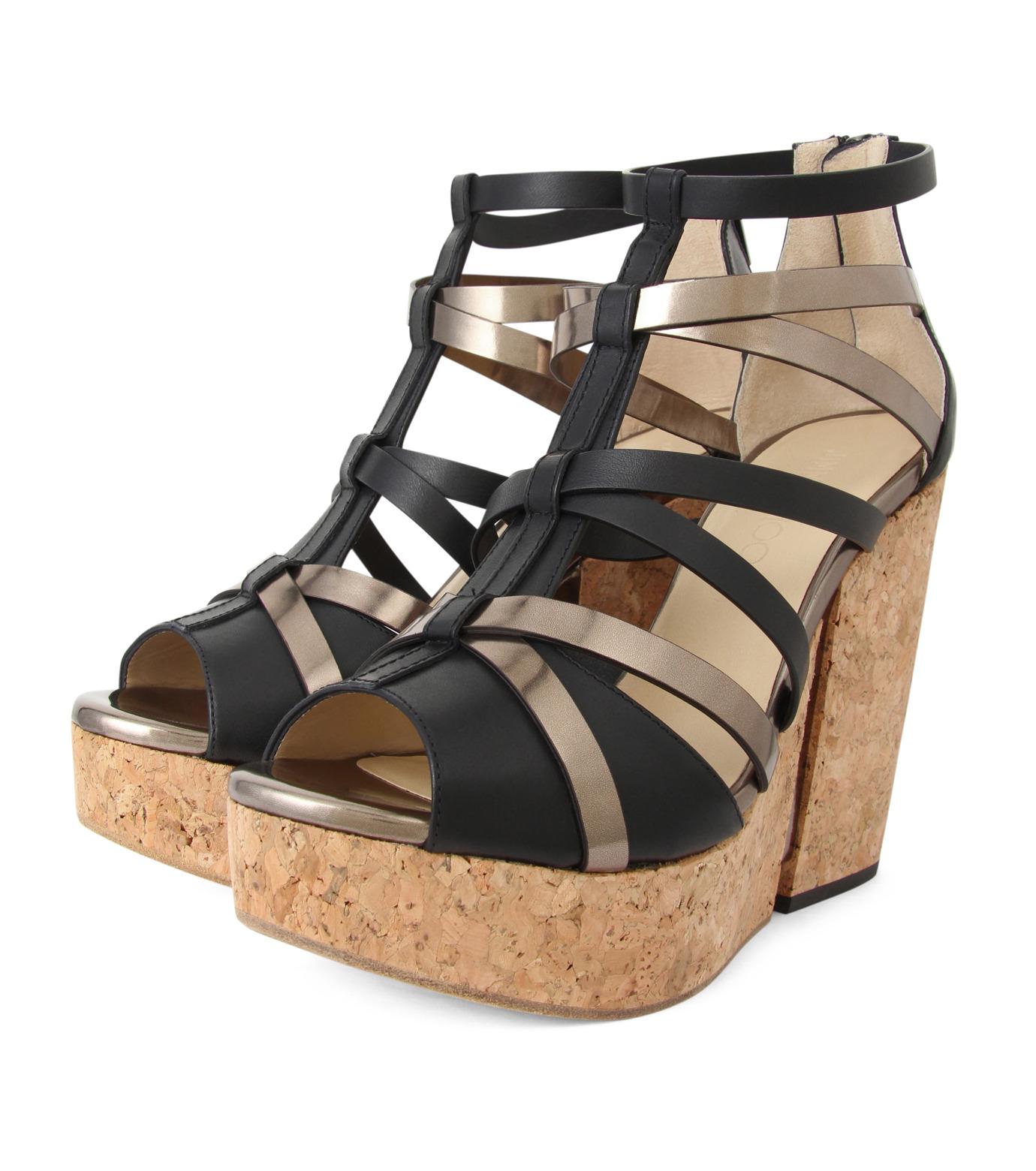 Jimmy Choo(ジミーチュウ)の153VCM Cork Wedge Vachetta/Mirror Le-BLACK(シューズ/shoes)-PASCAL-120-13 拡大詳細画像3