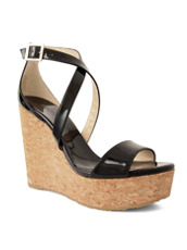 Jimmy Choo 154PAT Cork Wedge Patent