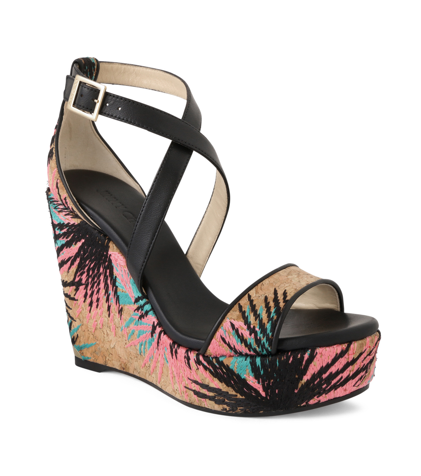 Jimmy Choo(ジミーチュウ)の161Cork Wedge Palm Tree-BLACK(シューズ/shoes)-PORTIA120PEK-13 拡大詳細画像1