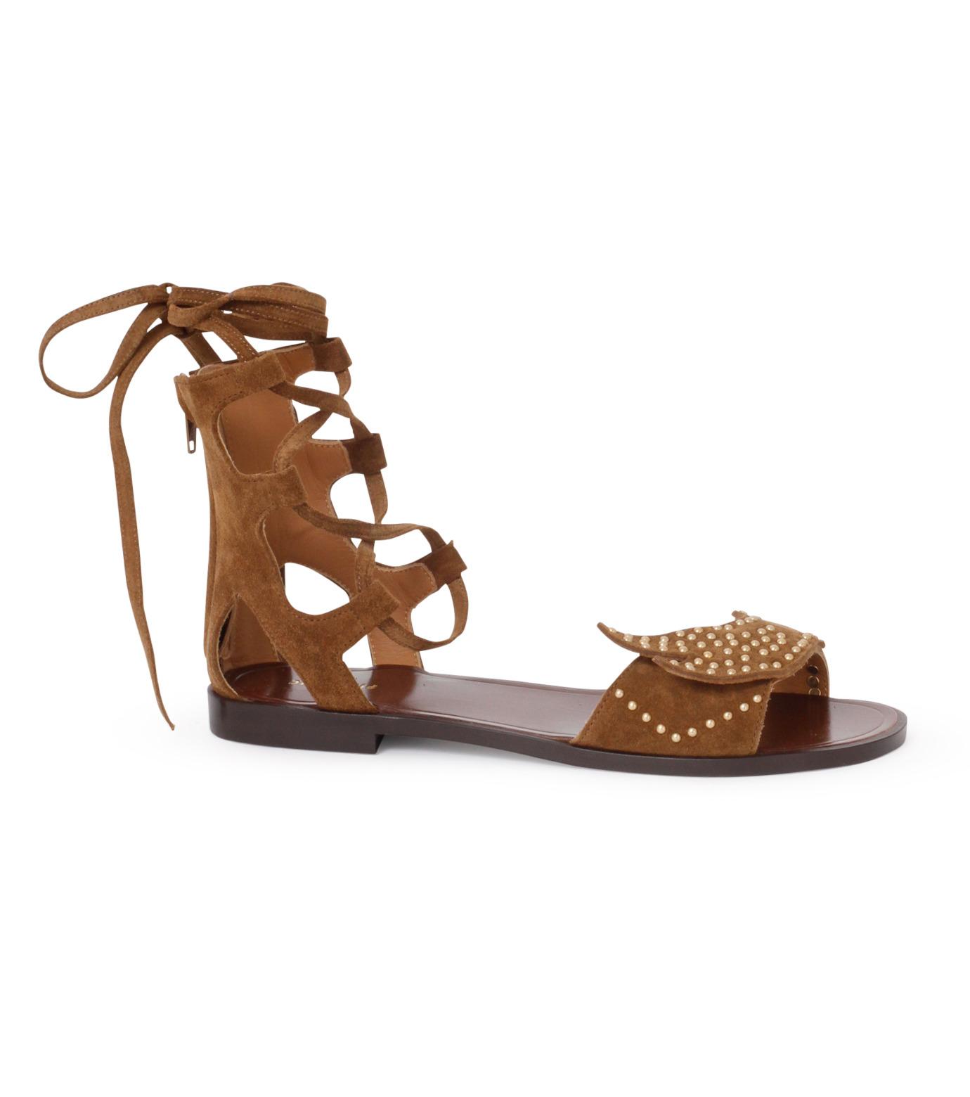 PIPPICHIC(ピッピシック)のbird lace-up flat sandal-BROWN(シューズ/shoes)-PP16S-BIRD24-42 拡大詳細画像1