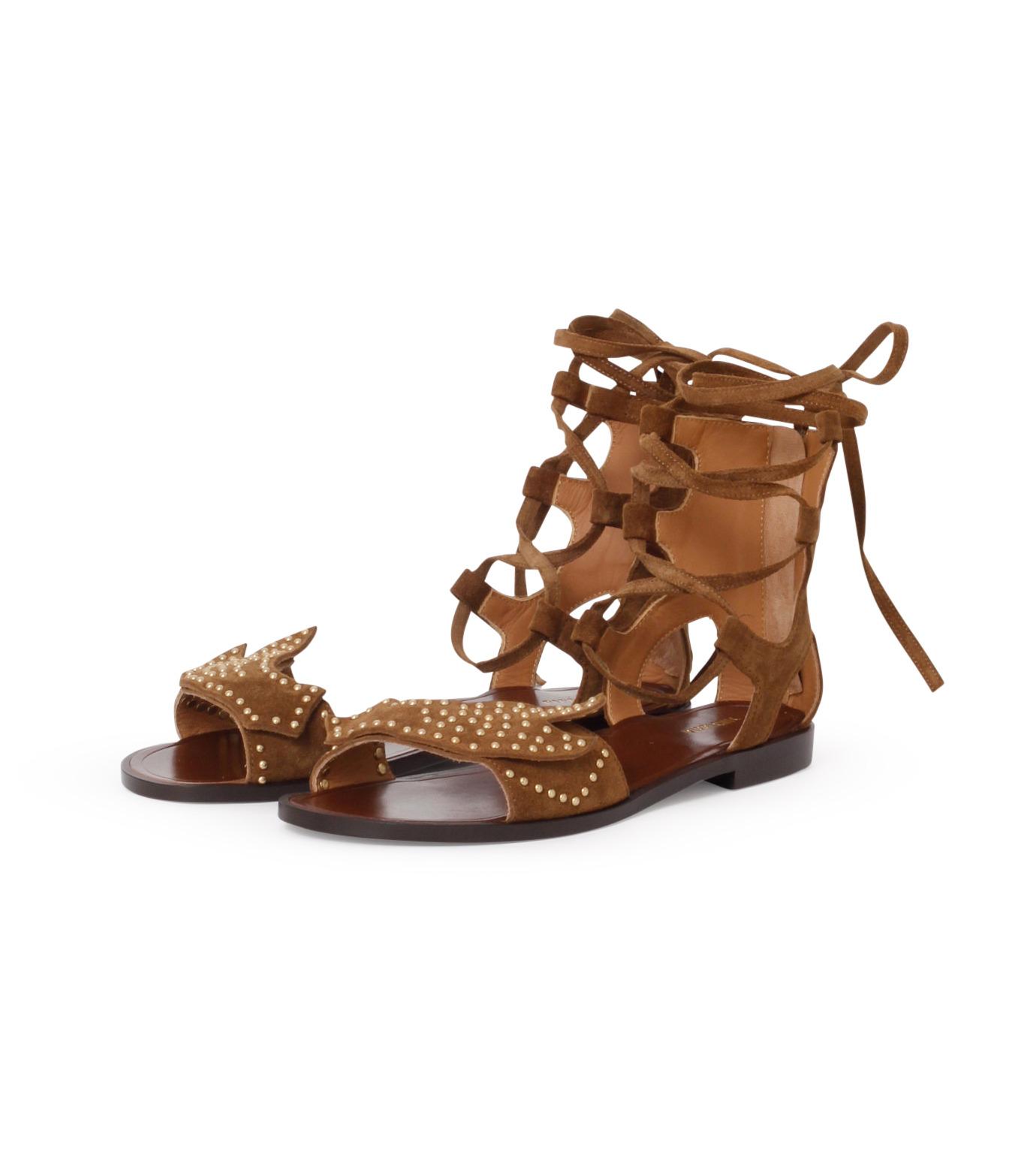 PIPPICHIC(ピッピシック)のbird lace-up flat sandal-BROWN(シューズ/shoes)-PP16S-BIRD24-42 拡大詳細画像2