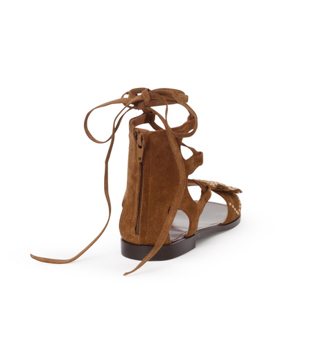 PIPPICHIC(ピッピシック)のbird lace-up flat sandal-BROWN(シューズ/shoes)-PP16S-BIRD24-42 詳細画像3