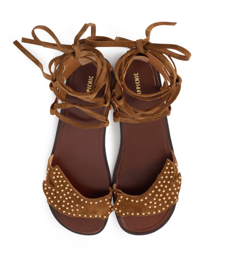 PIPPICHIC(ピッピシック)のbird lace-up flat sandal-BROWN(シューズ/shoes)-PP16S-BIRD24-42 詳細画像4