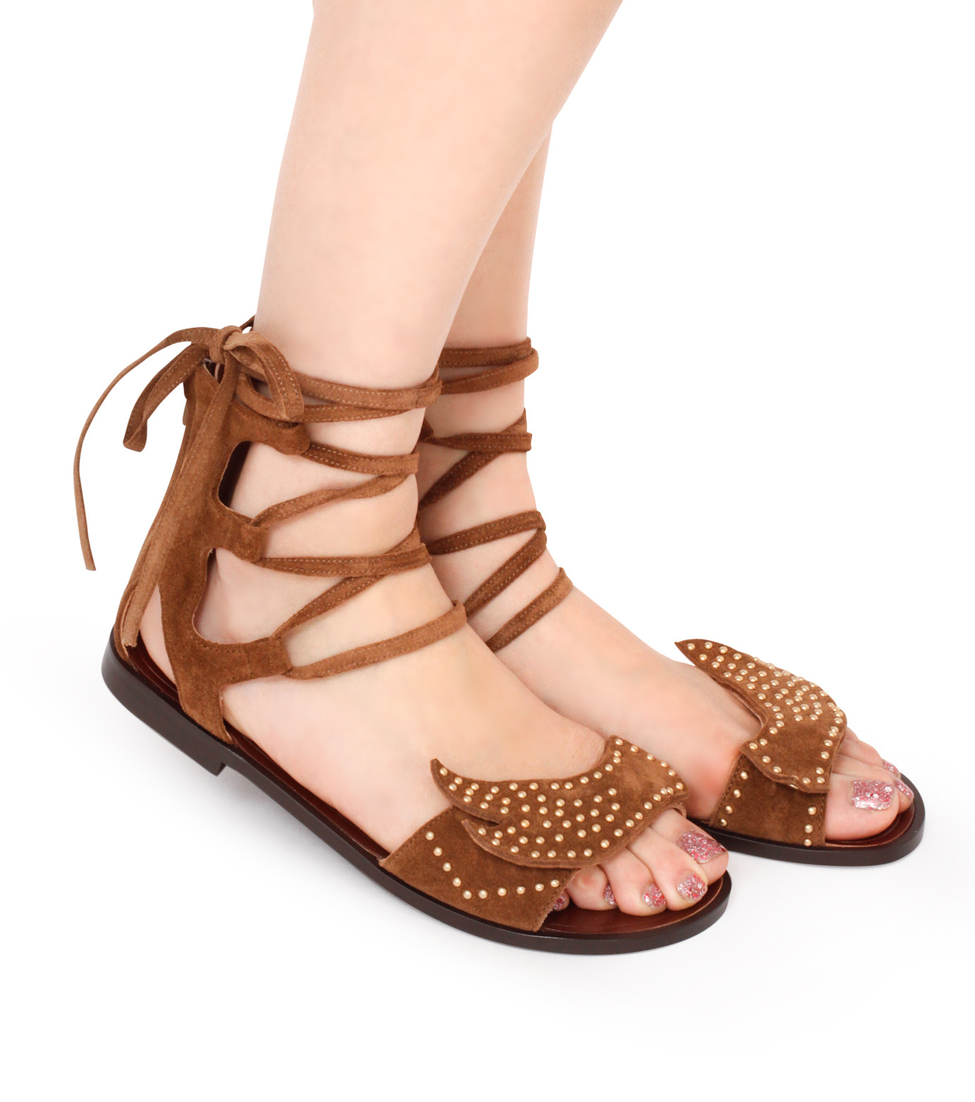 PIPPICHIC(ピッピシック)のbird lace-up flat sandal-BROWN(シューズ/shoes)-PP16S-BIRD24-42 拡大詳細画像5