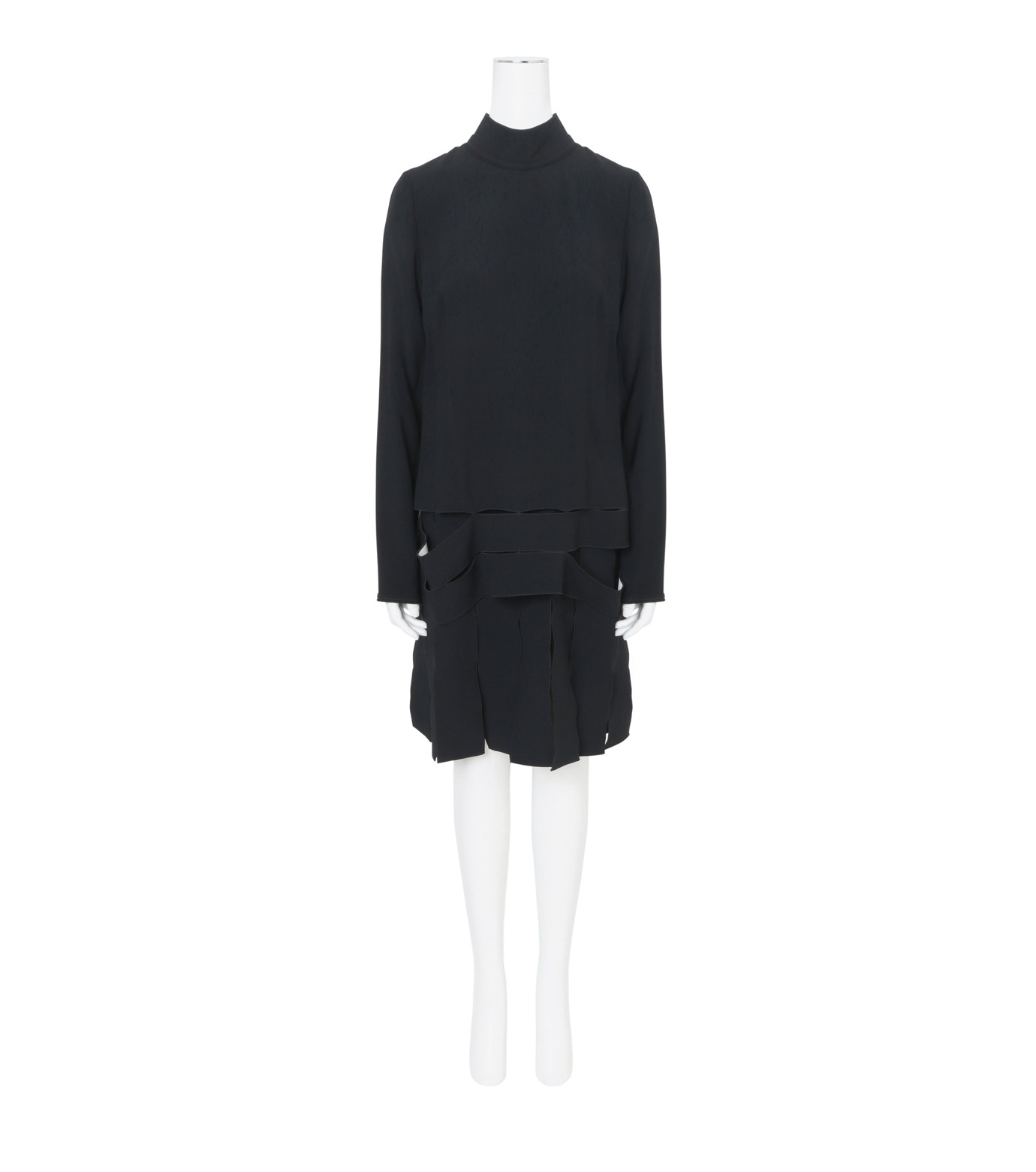 Proenza Schouler(プロエンザ スクーラー)のLS Drop Waist Dress Satin Bonded-BLACK(ワンピース/one piece)-R164342-13 拡大詳細画像1