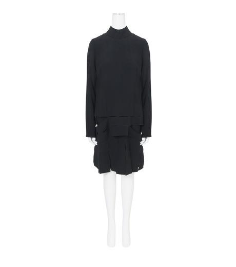 Proenza Schouler(プロエンザ スクーラー)のLS Drop Waist Dress Satin Bonded-BLACK(ワンピース/one piece)-R164342-13 詳細画像1