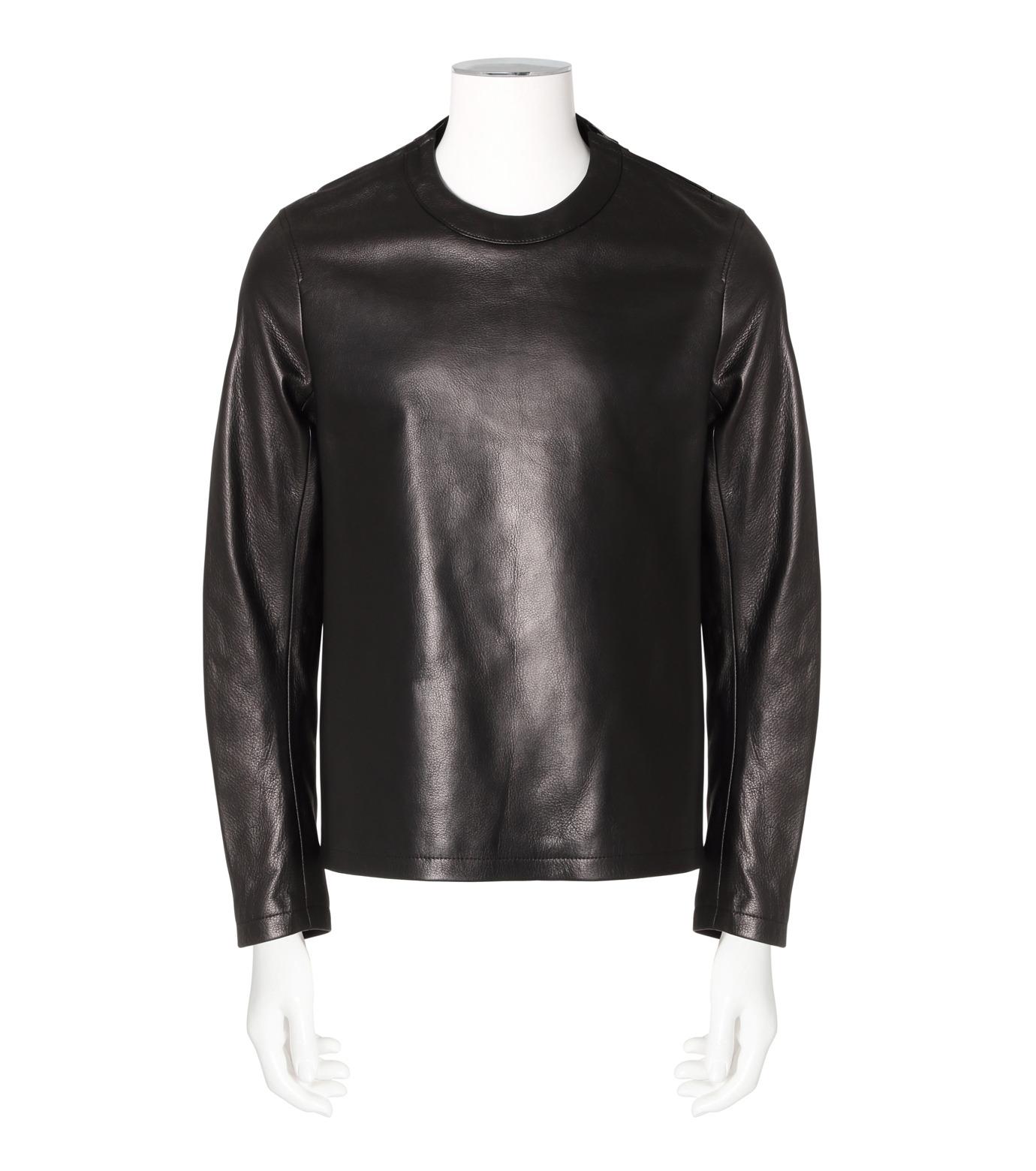 RAINMAKER(レインメーカー)のcrewneck leather shirt-BLACK-RM162-001-13 拡大詳細画像1