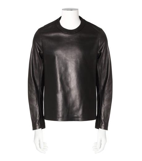 RAINMAKER(レインメーカー)のcrewneck leather shirt-BLACK-RM162-001-13 詳細画像1