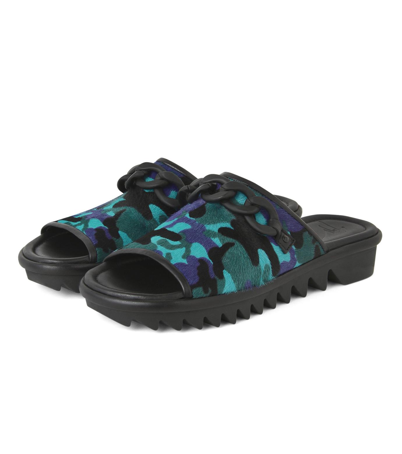 Giuseppe Zanotti Design(ジュゼッペザノッティ)のBaby Fur Camouflage Slippers-BLUE(シューズ/shoes)-RM5067LO-T-92 拡大詳細画像3