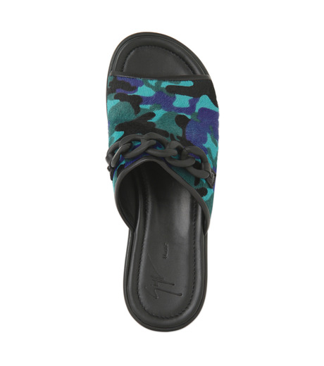 Giuseppe Zanotti Design(ジュゼッペザノッティ)のBaby Fur Camouflage Slippers-BLUE(シューズ/shoes)-RM5067LO-T-92 詳細画像4