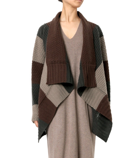 Rick Owens(リックオウエンス)のPitti Stripe Long Cardigan Jkt-MULTI COLOUR(ニット/knit)-RP16F2657HGC-9 詳細画像1