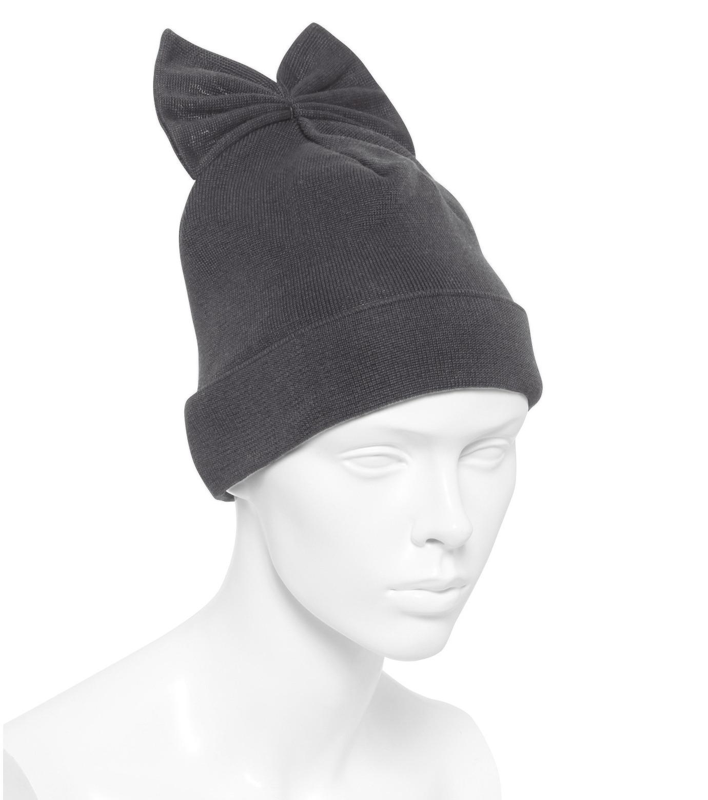Federica Moretti(フェデリカ モレッティ)のKnit Cap w/Bow-GRAY(キャップ/cap)-SCAT-CAT-11 拡大詳細画像3