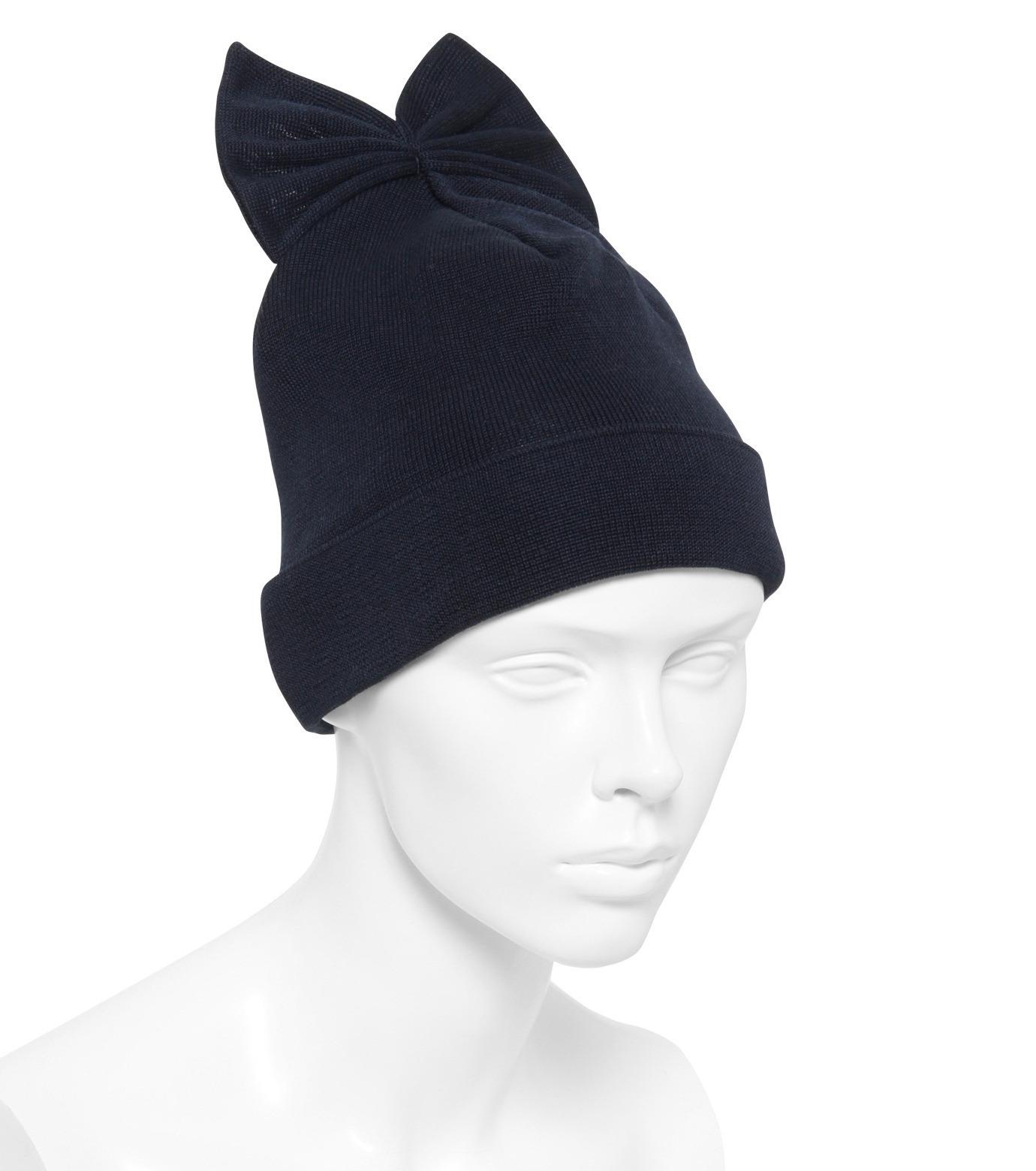 Federica Moretti(フェデリカ モレッティ)のKnit Cap w/Bow-NAVY(キャップ/cap)-SCAT-CAT-93 拡大詳細画像3