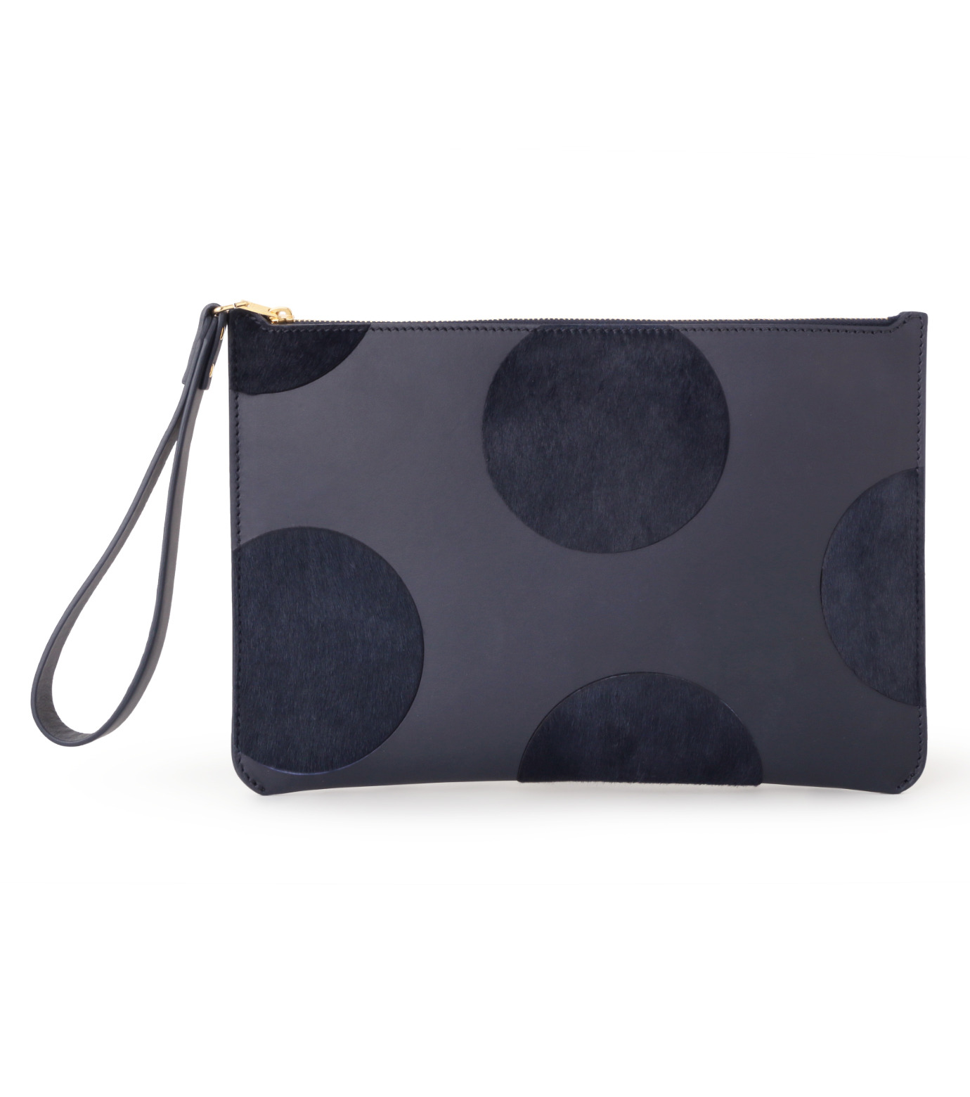 Sophie Hulme(ソフィーヒュルム)のTalbot Pouch Haircalf Dot-NAVY(バッグ/bag)-SG180HI-L 拡大詳細画像1