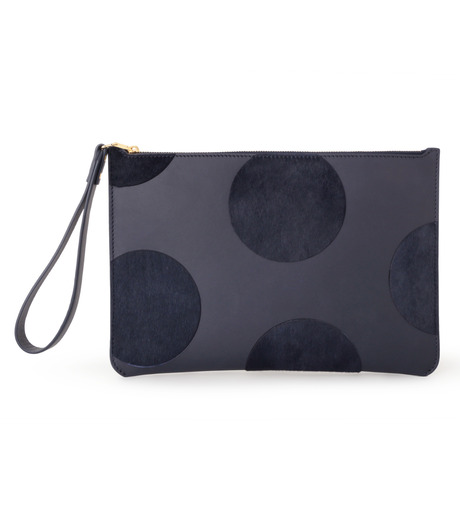 Sophie Hulme(ソフィーヒュルム)のTalbot Pouch Haircalf Dot-NAVY(バッグ/bag)-SG180HI-L 詳細画像1