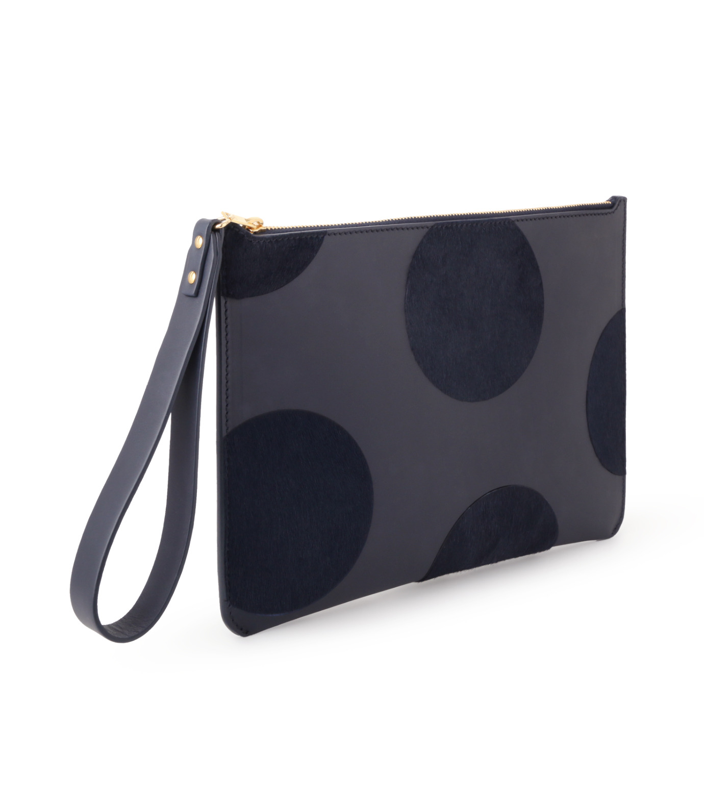 Sophie Hulme(ソフィーヒュルム)のTalbot Pouch Haircalf Dot-NAVY(バッグ/bag)-SG180HI-L 拡大詳細画像2