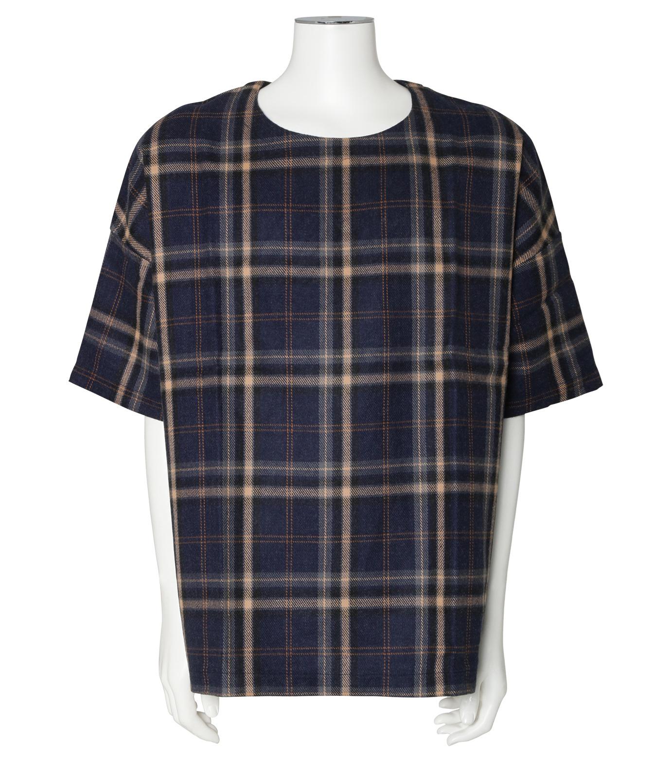 MUNSOO KWON()のCheck Shirt Pullover-NAVY(カットソー/cut and sewn)-SH053-93 拡大詳細画像1