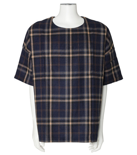 MUNSOO KWON()のCheck Shirt Pullover-NAVY(カットソー/cut and sewn)-SH053-93 詳細画像1