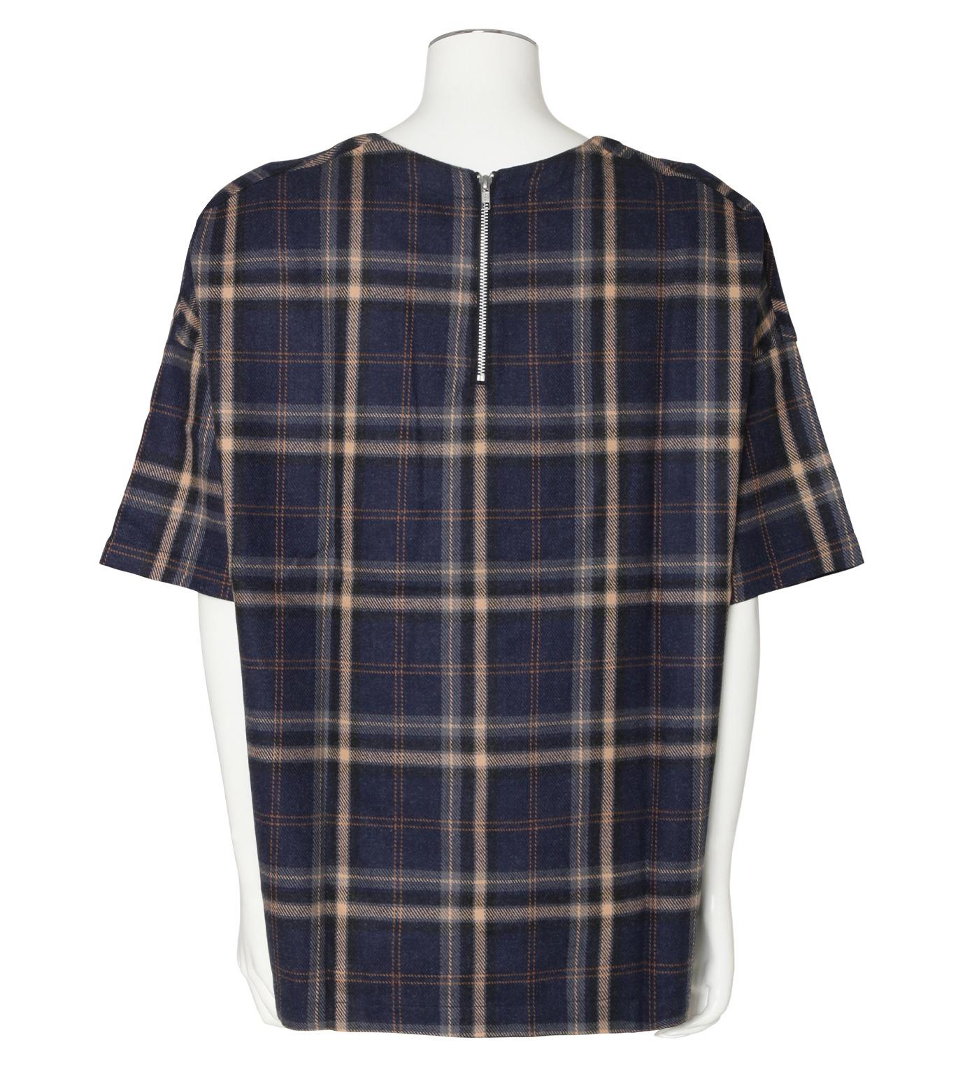 MUNSOO KWON()のCheck Shirt Pullover-NAVY(カットソー/cut and sewn)-SH053-93 拡大詳細画像2