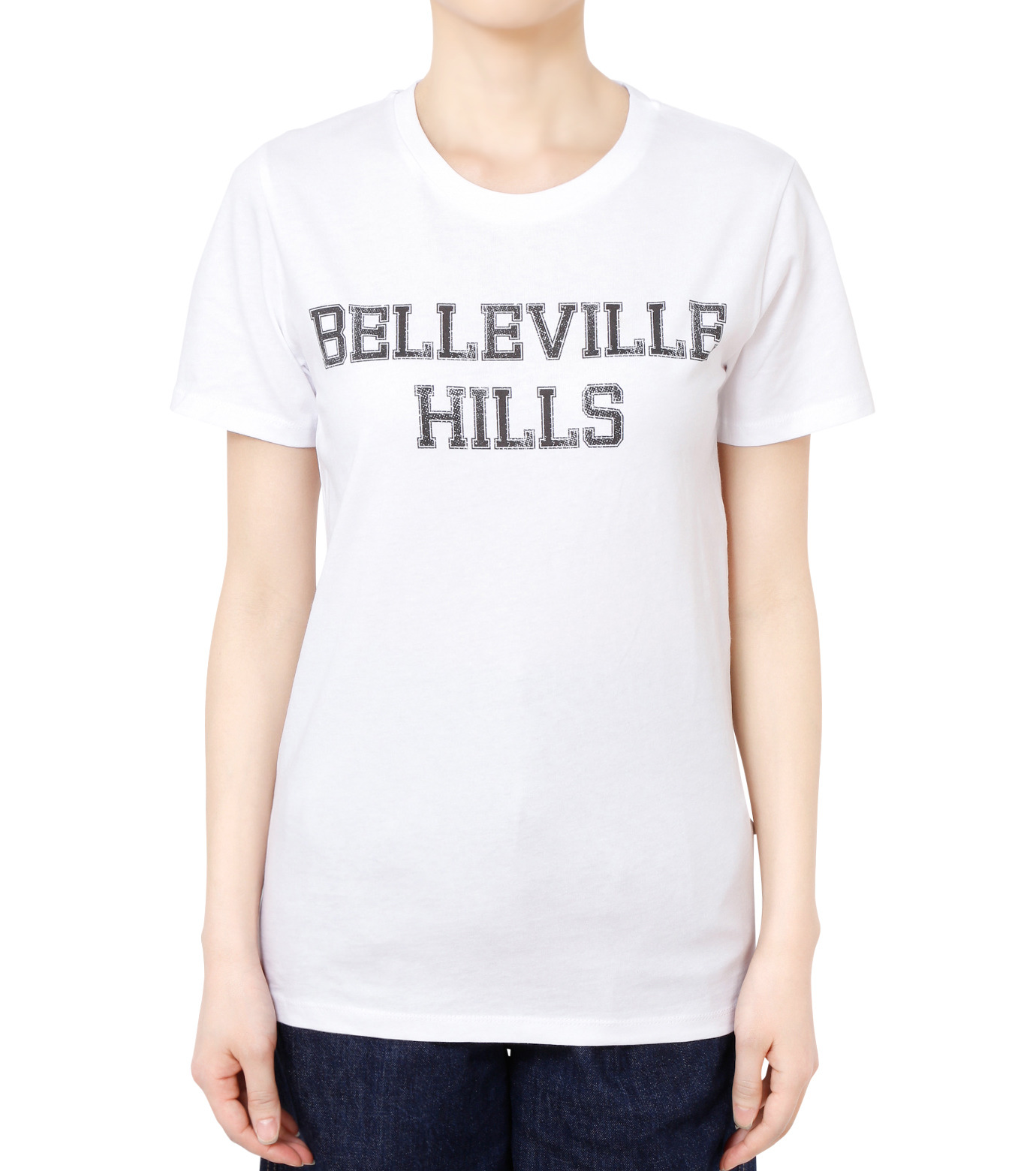 No One(ノーワン)のBELLEVILLE HILLS Logo T-shirt-WHITE(カットソー/cut and sewn)-SS910W-4 拡大詳細画像1