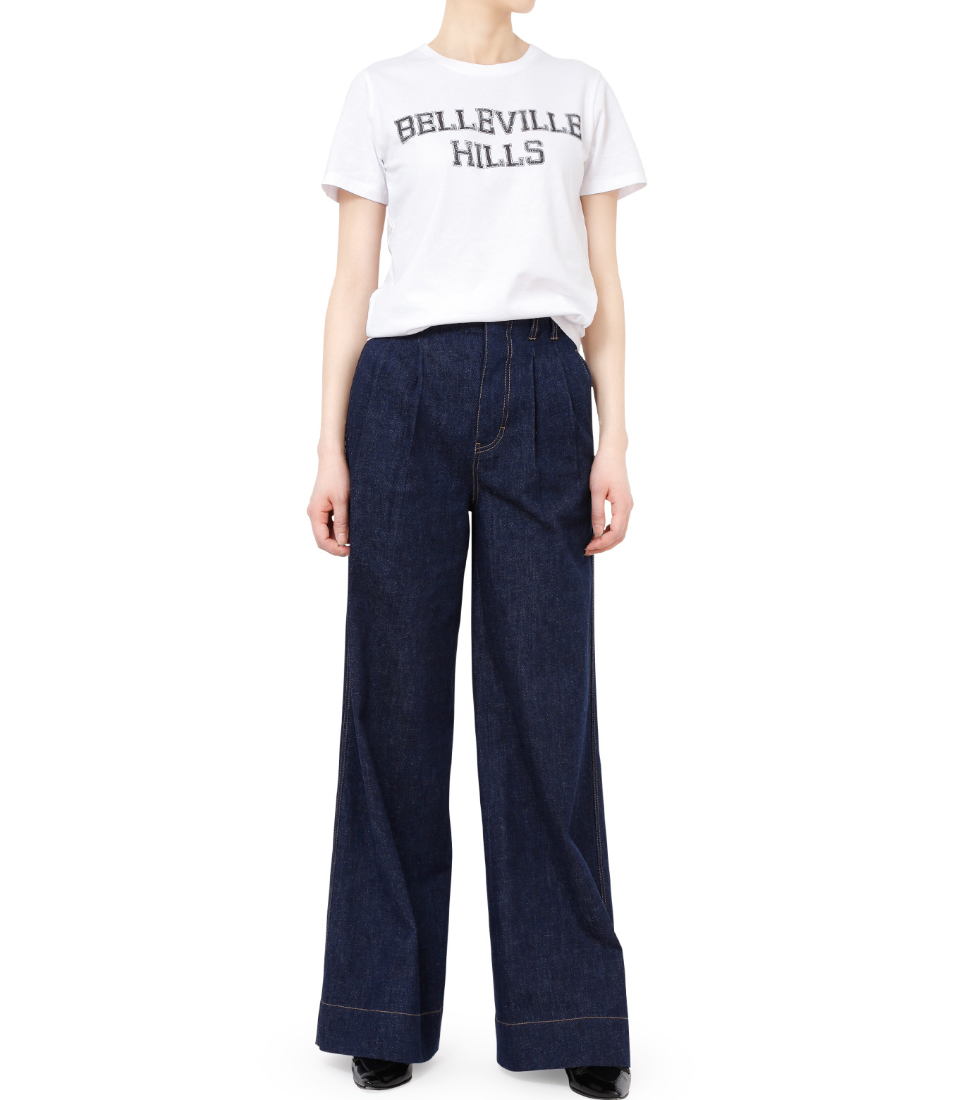 No One(ノーワン)のBELLEVILLE HILLS Logo T-shirt-WHITE(カットソー/cut and sewn)-SS910W-4 拡大詳細画像3