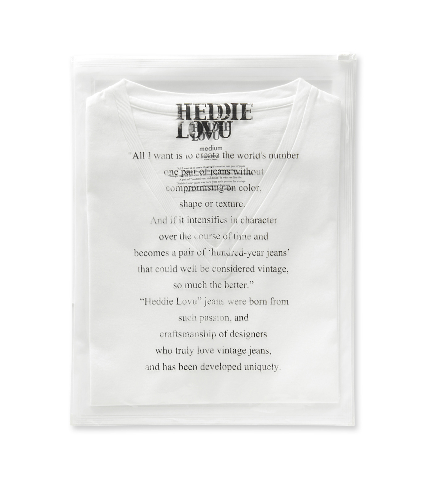Heddie Lovu(エディー ルーヴ)のV NECK 【MACHO】-WHITE(カットソー/cut and sewn)-ST-M2-00-14A 拡大詳細画像2