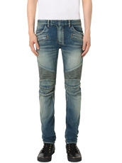 Balmain Wash Biker Denim