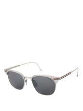 Thom Browne Eye Wear Silver Frame Tricolore
