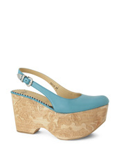 Toga Wood Sole Wedge Pump