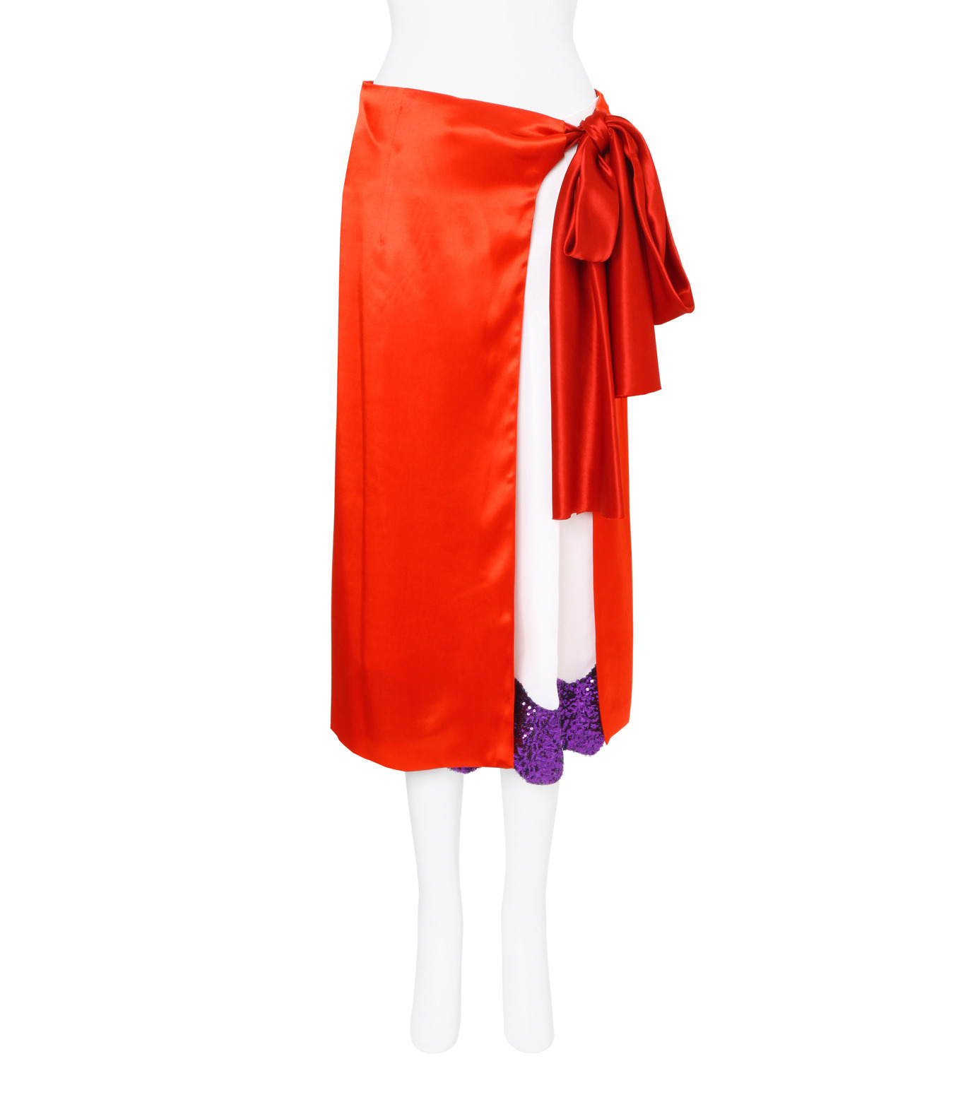 Toga Pulla(トーガ プルラ)のRayon Satin Skirt w/Sequin-RED(スカート/skirt)-TP71-FG238-62 拡大詳細画像1