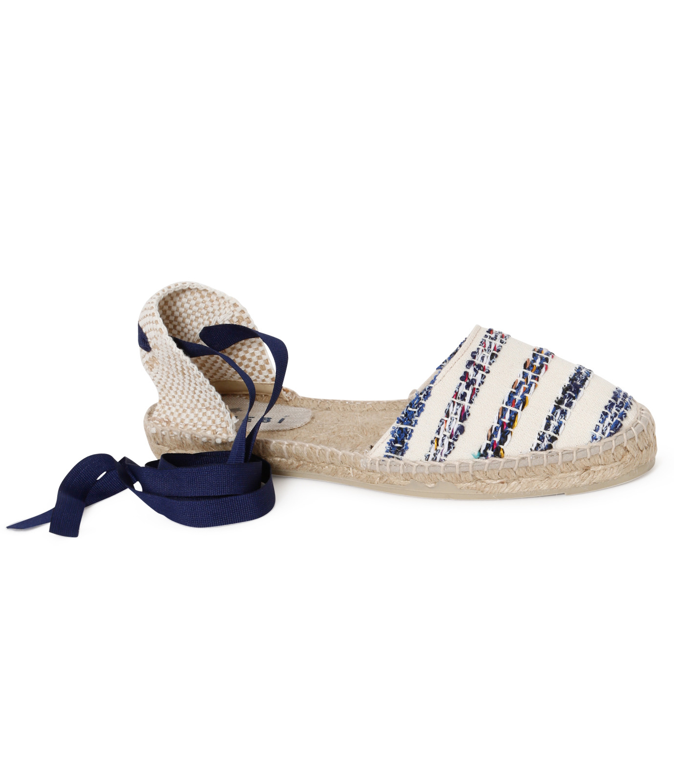 Manebi(マネビ)のtweed stripes ribbon sandals-BLUE(シューズ/shoes)-V-4-7-P-92 拡大詳細画像1