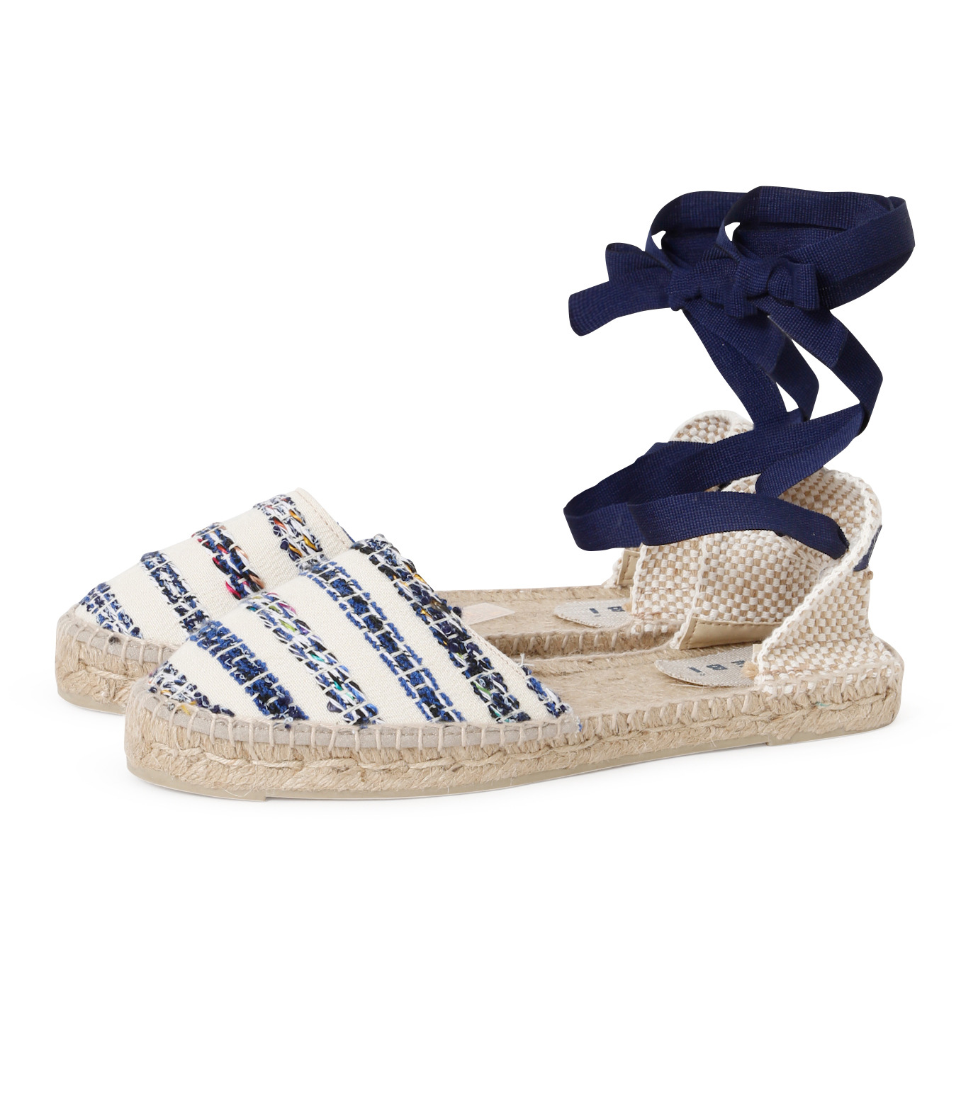 Manebi(マネビ)のtweed stripes ribbon sandals-BLUE(シューズ/shoes)-V-4-7-P-92 拡大詳細画像2