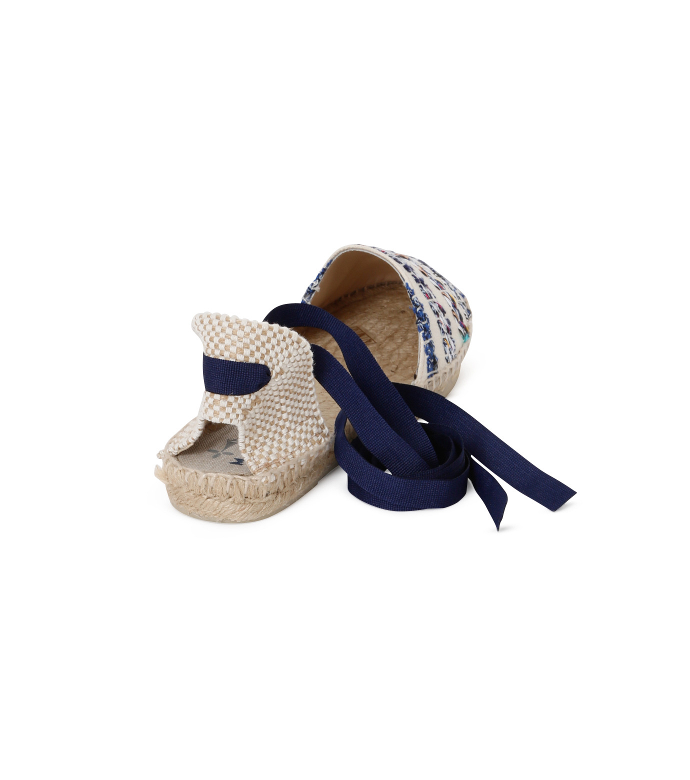 Manebi(マネビ)のtweed stripes ribbon sandals-BLUE(シューズ/shoes)-V-4-7-P-92 拡大詳細画像3